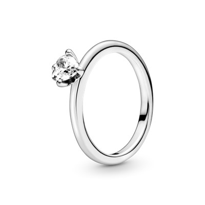 Anel Clear Heart Solitaire